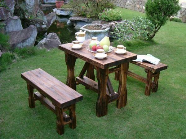 BROTHER兄弟牌燻木一桌二椅組~全實木復古風華再現~庭園休閒!!
