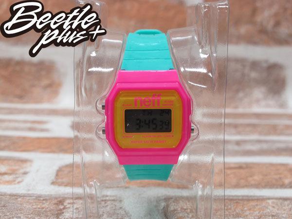 BEETLE PLUS 西門町經銷 美國潮牌 NEFF FLAVA WATCH PINK/CYAN 粉黃 TIFFANY綠 電子錶 NF-44 1