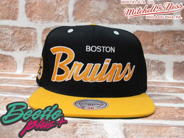 BEETLE PLUS MITCHELL&NESS NHL 波士頓 棕熊 BOSTON BRUINS 黑黃 草寫字 SNAPBACK 後扣棒球帽 MN-40 0