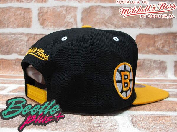 BEETLE PLUS MITCHELL&NESS NHL 波士頓 棕熊 BOSTON BRUINS 黑黃 草寫字 SNAPBACK 後扣棒球帽 MN-40 1