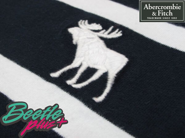 BEETLE PLUS 西門町實體店面 全新 AMBERCROMBIE&FITCH 黑白 粗細相間條紋 美國麋鹿 小LOGO A&F 2