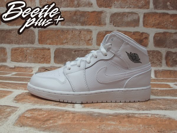 BEETLE PLUS NIKE AIR JORDAN 1 MID BG 全白 白灰 銀 皮革 一代 女鞋 554725-102 0