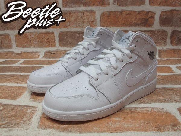 BEETLE PLUS NIKE AIR JORDAN 1 MID BG 全白 白灰 銀 皮革 一代 女鞋 554725-102 1