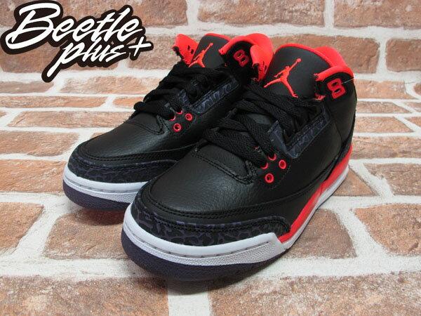 BEETLE PLUS 2012 NIKE AIR JORDAN 3 RETRO GS BRIGHT CRIMSON AJ3 爆裂 黑紅 女鞋 398614-005 1
