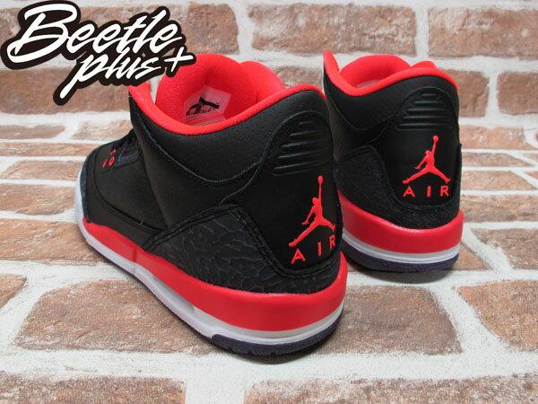 BEETLE PLUS 2012 NIKE AIR JORDAN 3 RETRO GS BRIGHT CRIMSON AJ3 爆裂 黑紅 女鞋 398614-005 2