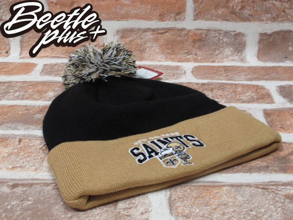 BEETLE PLUS 全新 MITCHELL&NESS NFL BEANIE LOGO NEW ZEALAND SAINTS 聖徒隊 毛線帽 黑 土黃 毛帽 MN-180 0