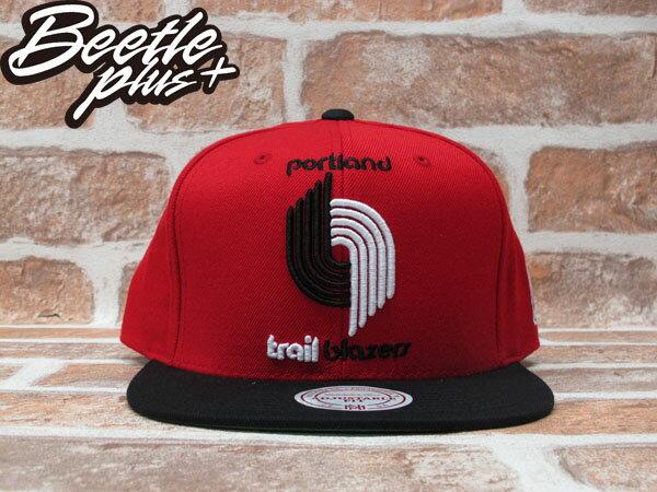 BEETLE PLUS 全新 MITCHELL&NESS NBA 波特蘭 拓荒者 TRAIL BLAZERS 紅黑 電繡LOGO 文字 SNAPBACK MN-190 0