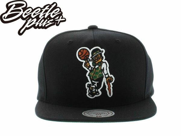BEETLE PLUS 全新 MITCHELL&NESS NBA 波士頓 賽亞提克 CELTICS LOGO 全黑 SNAPBACK 後扣棒球帽 MN-194 0