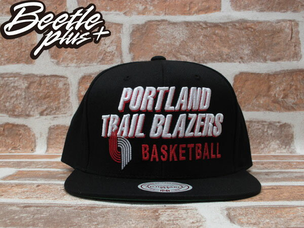 BEETLE PLUS 全新 MITCHELL&NESS NBA PORTLAND TRAILBLAZERS 波特蘭 拓荒者 文字 LOGO 全黑 SNAPBACK MN-203 0