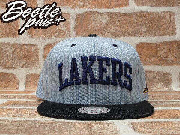 BEETLE PLUS 全新 MITCHELL&NESS NBA LOS ANGELES 洛杉機 湖人隊 丹寧 牛仔布 SNAPBACK 後扣棒球帽 MN-205 0