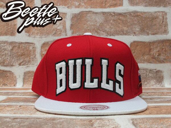 BEETLE PLUS 全新 MITCHELL&NESS NBA CHICAGO BULLS 芝加哥 公牛 文字 球衣 網布 紅白 SNAPBACK MN-210 0