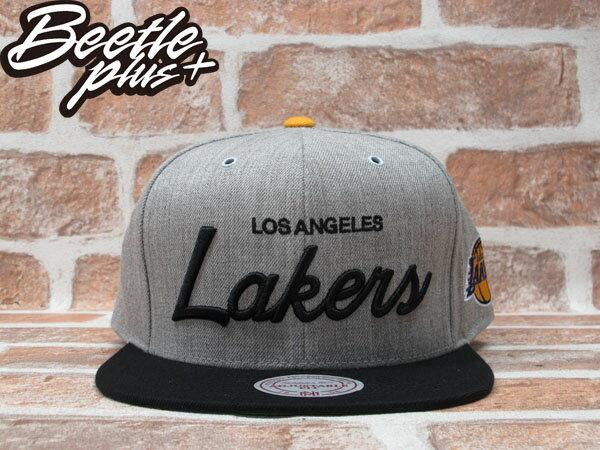 BEETLE PLUS 全新 MITCHELL&NESS NBA LOS ANGELES LAKERS 洛杉磯 湖人 電繡 草寫字 灰黑 KOBE SNAPBACK 後扣 MN-224