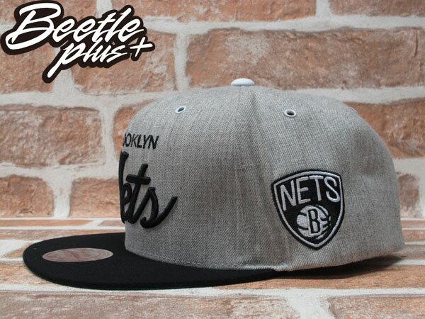BEETLE PLUS MITCHELL&NESS NBA 布魯克林籃網 BROOKLYN NETS 灰黑 電繡 草寫 SNAPBACK JAY-Z 後扣棒球帽 MN-225 1
