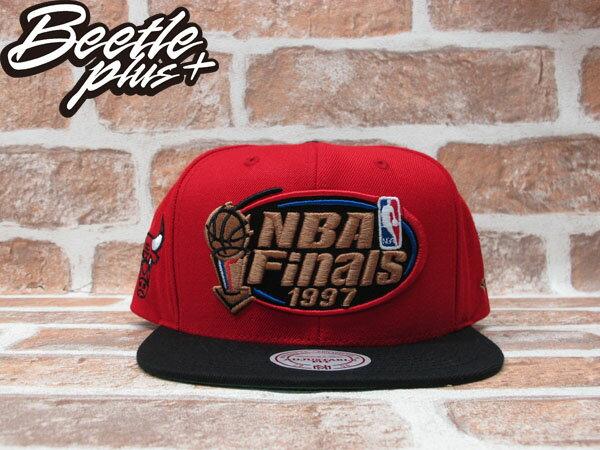 BEETLE PLUS MITCHELL&NESS NBA 芝加哥 公牛 BULLS 1997 總冠軍 FINALS LOGO 紅黑 SNAPBACK 後扣棒球帽 MN-242 0