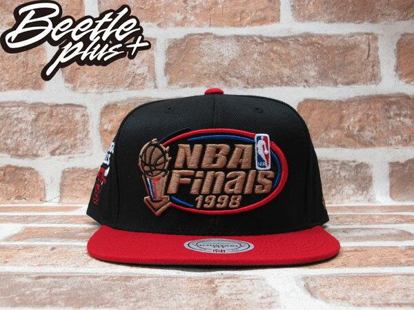 BEETLE PLUS MITCHELL&NESS NBA 芝加哥 公牛 BULLS 1998 總冠軍 FINALS LOGO 黑紅 SNAPBACK 後扣棒球帽 MN-243 0