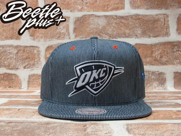 BEETLE PLUS 全新 MITCHELL&NESS NBA 奧克拉荷馬 雷霆 THUNDER 條紋 LOGO 藍白 KD DURANT 皮扣帽 STRAPBACK MN-244 0