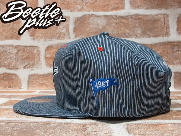 BEETLE PLUS 全新 MITCHELL&NESS NBA 奧克拉荷馬 雷霆 THUNDER 條紋 LOGO 藍白 KD DURANT 皮扣帽 STRAPBACK MN-244 1
