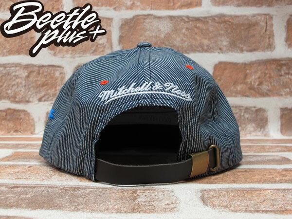 BEETLE PLUS 全新 MITCHELL&NESS NBA 奧克拉荷馬 雷霆 THUNDER 條紋 LOGO 藍白 KD DURANT 皮扣帽 STRAPBACK MN-244 2