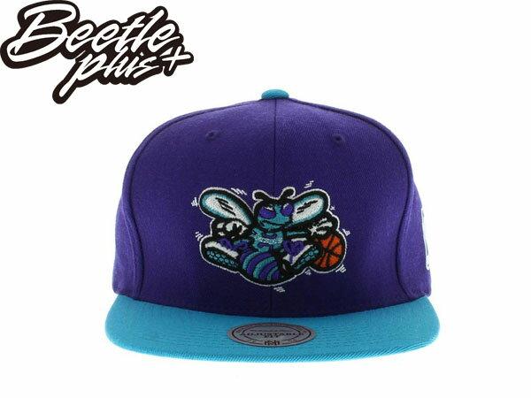 BEETLE PLUS 全新 MITCHELL&NESS NBA 夏洛特 黃蜂 HORNETS LOGO 紫綠 灰 SNAPBACK 後扣棒球帽 MN-279 0