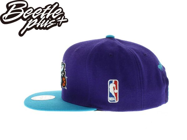 BEETLE PLUS 全新 MITCHELL&NESS NBA 夏洛特 黃蜂 HORNETS LOGO 紫綠 灰 SNAPBACK 後扣棒球帽 MN-279 1