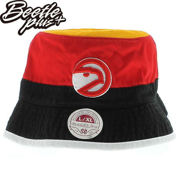 BEETLE PLUS 全新 MITCHELL&NESS NBA 亞特蘭大 老鷹 HAWKS LOGO 黑黃 紅 遮陽帽 漁夫帽 BUCKET HAT MN-278 0