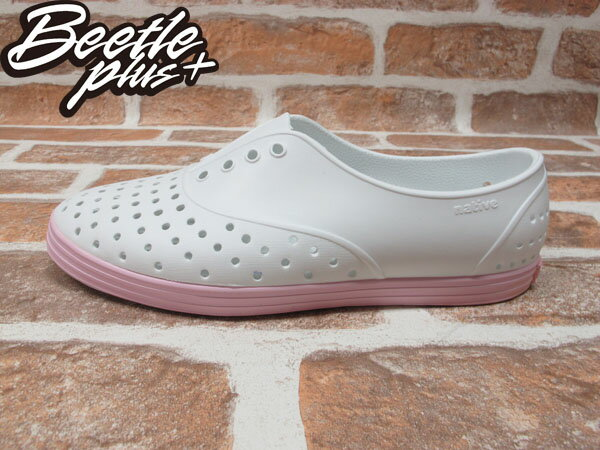 BEETLE PLUS 西門町 全新 NATIVE JERICHO SHELL WHITE WITH PLIE PINK 白 粉紅 馬卡龍 女鞋 GLM04W-140 0