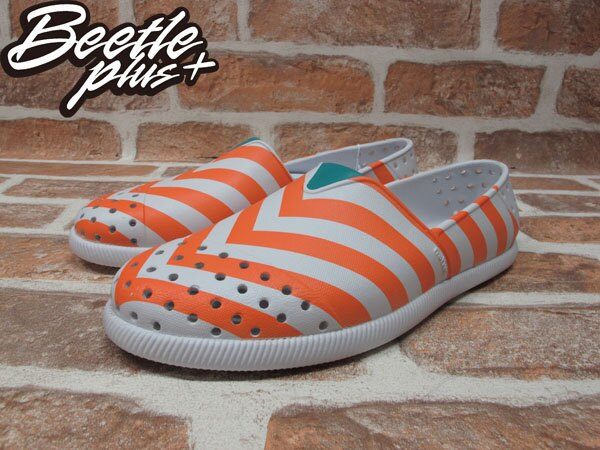 BEETLE PLUS 全新 2014 春夏 NATIVE VERONA SHELL WHITE / CANTALOUPE PINK STRIPES 橘白 條紋 GLM18-105 1