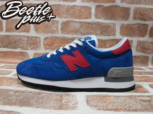 BEETLE PLUS 全新 NEW BALANCE 寶藍 紅N 慢跑鞋 麂皮 網面 30週年 英國限量 M990SB 0