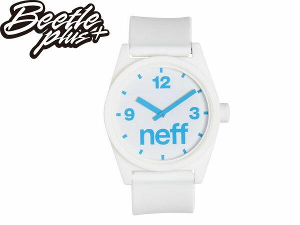 BEETLE PLUS 美國潮牌 NEFF DAILY HELVETICA WHITE CYAN 白 素色 基本 水藍 藍色指針 圓錶 指針手錶 NF-39 0