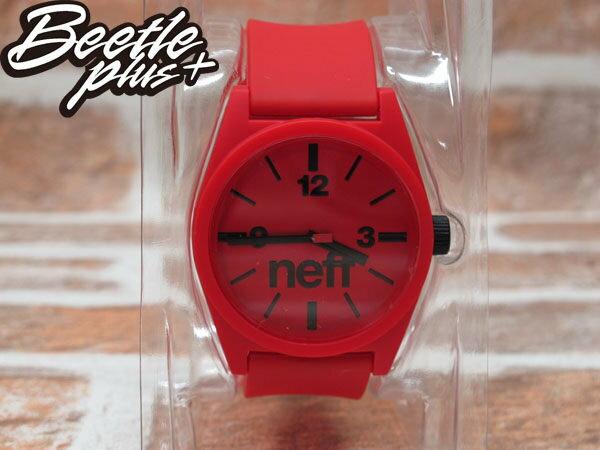 BEETLE PLUS 西門町 經銷 全新 現貨 美國潮牌 NEFF DAILY WATCH RED 全紅 黑色指針 圓錶 指針手錶 NF-49 1