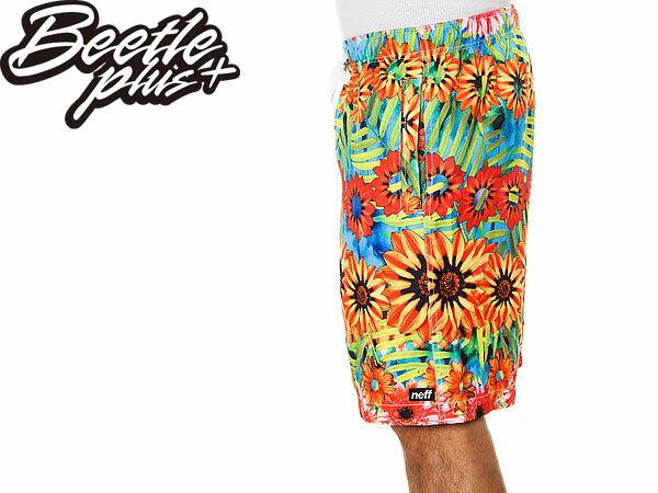 BEETLE PLUS 經銷 全新 美國品牌 NEFF SHORT SUNFLOWER 花卉 春神 沙灘 衝浪 海灘褲 向日葵 NF-91 1