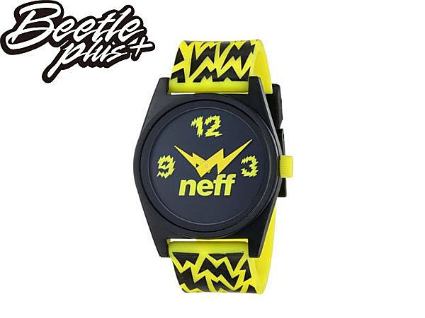 BEETLE PLUS NEFF DAILY WILD WATCH BLACK 黑 螢光黃 閃電 指針 手錶 圓錶 NF-113 - 限時優惠好康折扣