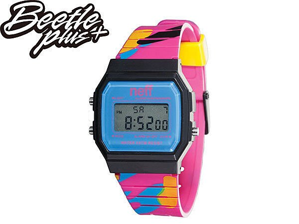 BEETLE PLUS NEFF FLAVA WATCH 彩繪 迷彩 塗鴉 黑藍 粉藍黃 電子錶 G-SHOCK NF-114 - 限時優惠好康折扣