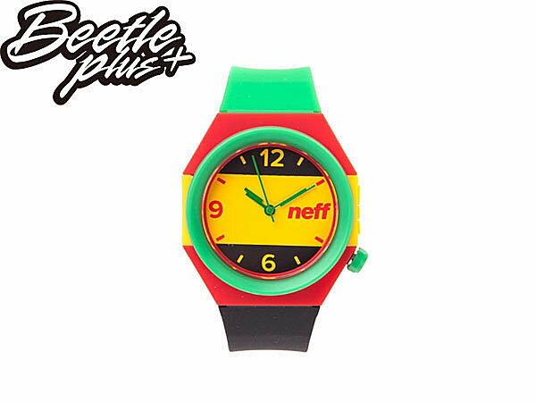 BEETLE PLUS NEFF STRIPE WATCH RASTA 牙買加 黃 綠 紅 指針 圓錶 手錶 NF-116 0