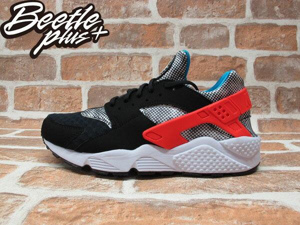 BEETLE PLUS NIKE AIR HUARACHE RUN FB QS 黑白 紅藍 波點 馬賽克 武士 慢跑鞋 忍者鞋 744486-001 0