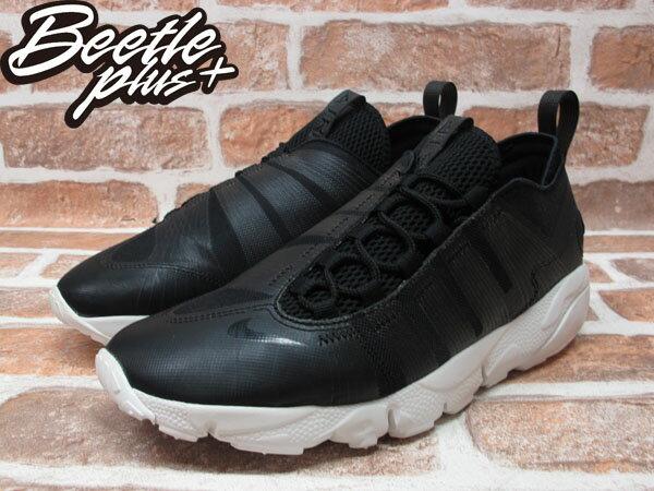 BEETLE PLUS 全新 NIKE AIR FOOTSCAPE MOTION BLACK 黑 皮革 側綁 藤原浩 編織鞋 慢跑鞋 395752-003 1