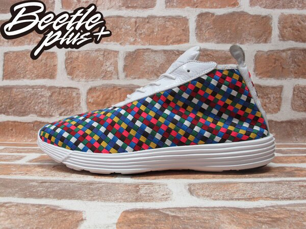 BEETLE PLUS 全新 NIKE LUNAR CHUKKA WOVEN+ 編織 白 彩虹 格紋 慢跑鞋 398475-100 0