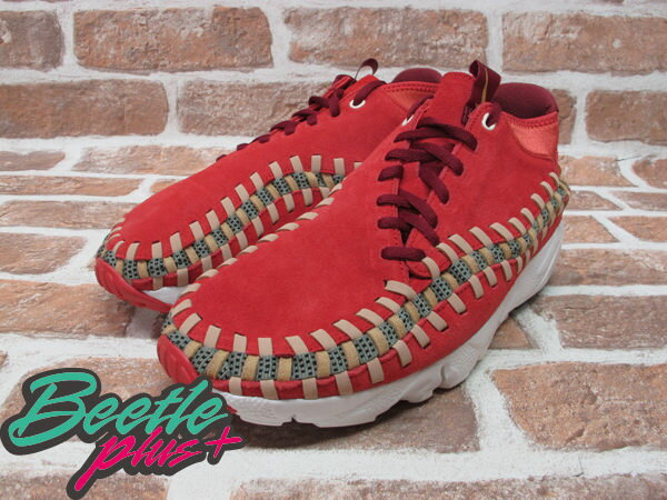 BEETLE PLUS 全新 NIKE AIR FOOTSCAPE WOVEN CHUKKA KNIT 紅綠 麂皮 編織 側綁 543208-863 1