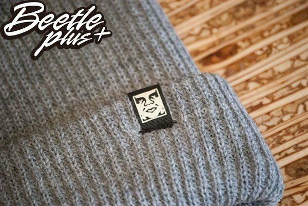 BEETLE PLUS 西門町經銷 全新 美國品牌 OBEY RUGER BEANIE ICON FACE 人臉 小車標 灰 反摺 針織帽 毛帽 1
