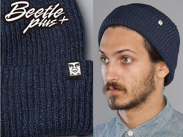 BEETLE PLUS OBEY RUGER BEANIE ICON FACE 人臉 小車標 深藍 反摺 針織帽 毛帽 0