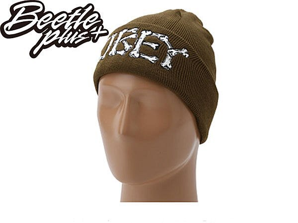 BEETLE PLUS 西門町經銷 全新 美國品牌 OBEY BRIGADE BEANIE 骨頭 文字 軍綠 毛帽 100030011DO OB-123 0