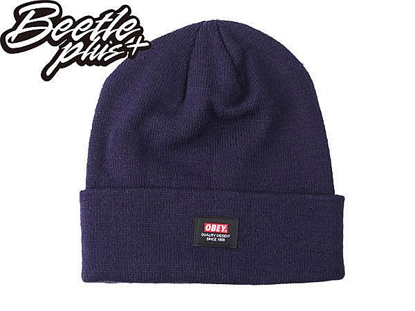 BEETLE PLUS 西門町經銷 全新 美國品牌 OBEY QUALITY DISSENT BEANIE 深藍 藍色 LOGO 基本 素面 毛帽 100030052NVY OB-219 - 限時優惠好康折扣