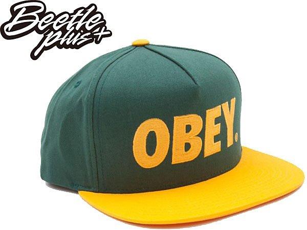 BEETLE PLUS 西門町經銷 全新 美國品牌 OBEY THE CITY SNAPBACK FONT 大LOGO 綠黃 文字 後扣棒球帽 100140032FOR OB-107 - 限時優惠好康折扣