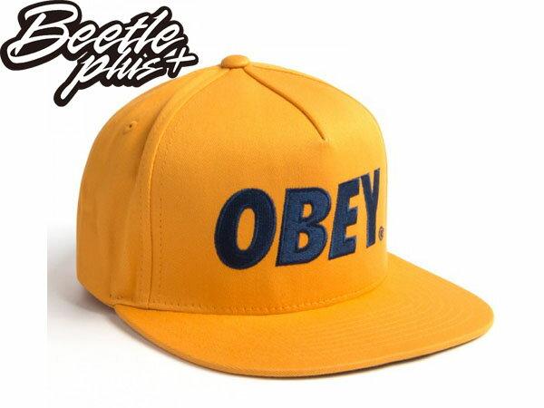 BEETLE PLUS 西門町經銷 全新 美國品牌 OBEY THE CITY SNAPBACK FONT 大LOGO 黃 深藍 文字 後扣棒球帽 100140032MSD 0