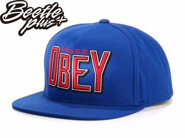 BEETLE PLUS 西門町經銷 全新 美國品牌 OBEY PROPAGANDA SNAPBACK 寶藍 紅 細字體 後扣棒球帽 100140095ROY OB-106 - 限時優惠好康折扣