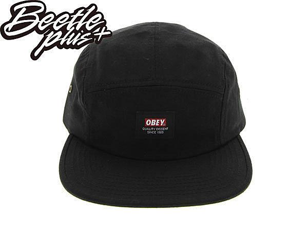 BEETLE PLUS 美國品牌 OBEY SARGE 5 PANEL 黑 LOGO 小車標 五片 五分帽 100140223BLK OB-220 1