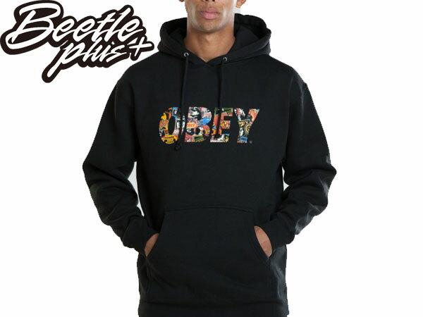 BEETLE PLUS 西門町經銷 全新 美國品牌 OBEY FONT LOGO 連帽 長袖 帽TEE 黑 民族風 圖騰 普普 111730387BLK 0