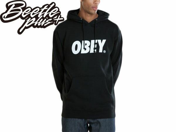 BEETLE PLUS 西門町經銷 全新 美國品牌 OBEY FONT LOGO 連帽 長袖 帽TEE 黑 白 文字 331730029BKW 0