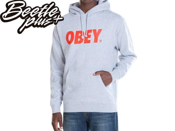 BEETLE PLUS 西門町經銷 全新 美國品牌 OBEY FONT LOGO 文字 連帽 長袖 帽TEE 灰 331730029HEA OB-79 - 限時優惠好康折扣