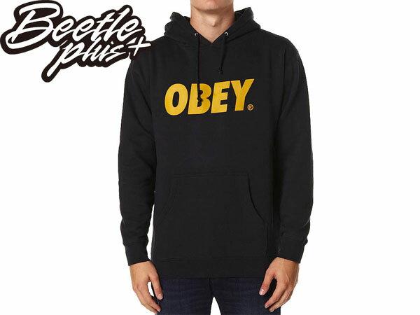 BEETLE PLUS 西門町經銷 全新 美國品牌 OBEY FONT LOGO 連帽 長袖 帽TEE 深藍 金黃字 文字 331730029NGD OB-145 0
